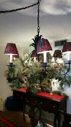 6 Mini Lampshades Chandelier Lamp Shades Red Tan Striped Beaded Tassels $29.99