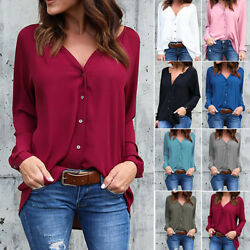 Women Long Sleeve T Shirt Chiffon Button Down Shirt V Neck Plus Size Tops Blouse $14.29