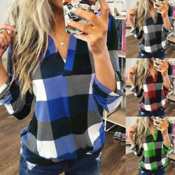 Womens Casual Long Sleeve Plaid Shirt V Neck Loose T Shirt Tops Blouse Plus Size $14.29