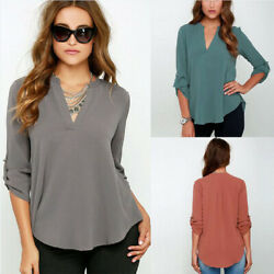 Women Long Sleeve Chiffon Shirt V Neck Solid Loose T Shirt Tops Blouse Plus Size $13.19