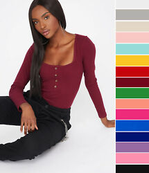 Women#x27;s Basic Square Neck Henley Long Sleeve T Shirt Top Soft Ribbed Knit Solid $14.99