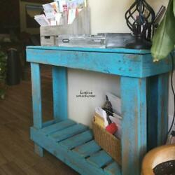 Rustic Entryway Table Narrow Console Barn Blue Wood Living Room Home Furniture $114.96