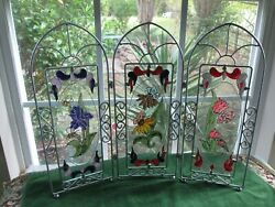 Stained Glass Art Hand Painted Trifold Free Standing Suncatcher Iris Tulip Daisy $50.00