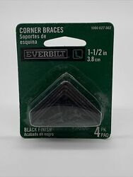 Everbilt 1 1 3in Corner Braces 4pack Black Finish Brand New in Packaging 3.8cm