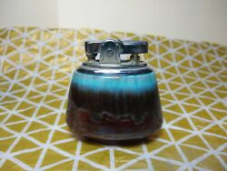 Ceramic Table Lighter. Brown to blue fade glaze. Refillable. Japan $9.99