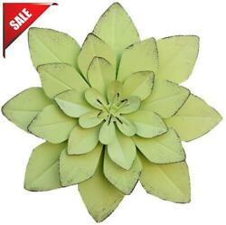 Chezmax Vintage Metal Grass Green Layered Flower Wall Sculptures Wall Metal Art $25.53
