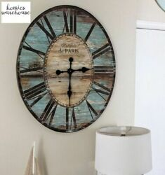 Large Rustic Wall Clock Farmhouse Oversized Analog Roman Vintage Look Home Decor $94.99
