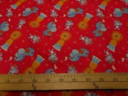 1 yard David Textiles Circus Animals Tossed on Red Fabric $3.99