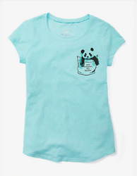 *NEW* JUSTICE GIRLS SIZE 8 10 12 14 16 PANDA POCKET TURQUOISE TOP TEE $8.00