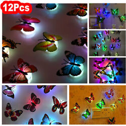 12PACK 3D Butterfly LED Wall Stickers Glowing Night Light Bedroom Home Decor DIY $10.03