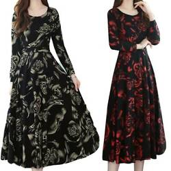 Women#x27;s Long Sleeve Rose Print Dress Casual Holiday Party Midi Big Swing Dresses $12.99