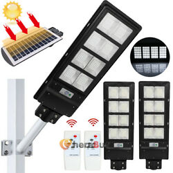 2Pack Outdoor Commercial LED Solar Street Light IP67 Radar Sensor 100000LM 120W