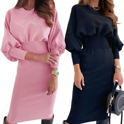 Womens Casual Waist Mini Dress Ladies Long Sleeve Sweater Party Dresses Bodycon $21.84