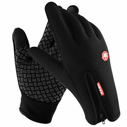 Men Women Winter Gloves Touch Screen Windproof Waterproof Leather Thick Snow $6.53