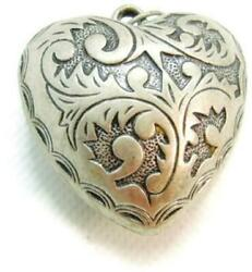 Large Puff Heart for Chain Necklace Silver Tone Pendant Vintage Detailed Costume $24.99
