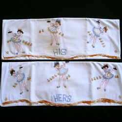 Crocheted Edge Vintage Pair Pillowcases His amp; Hers Embroidered Girls Nightgowns $29.99