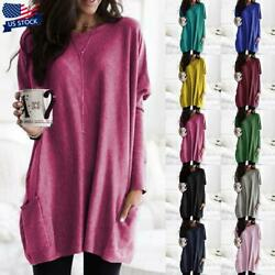 USA Plus Size Womens Long Sleeve Blouse Tunic Tops Loose Sweater Pullover Blouse $17.89