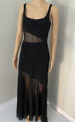 Cache Evening Dress Black Women Long Size 6 Sequins in Mint Condition $35.00