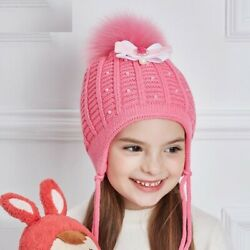 Girl Rhinestones Pearl Winter Hats Bow knot Knitted Thick Cotton Autumn Beanies $19.99
