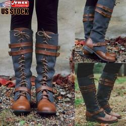 Womens Knee High Riding Boots Lace Up Buckle Denim Leather Casual Mid Calf Shoes $29.09
