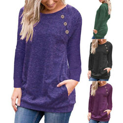 Womens Long Sleeve Tunic T Shirt Casual Loose Pullover Pockets Solid Tops Blouse $14.73