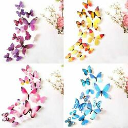 12Pcs Colourful Butterflies Wall Decal Home Stickers Bedroom Livingroom Decor $5.79