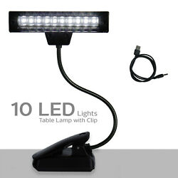 Goose Neck 10 LED Light Lamp with Clip for Bed Table Desk Computer Reading $9.55