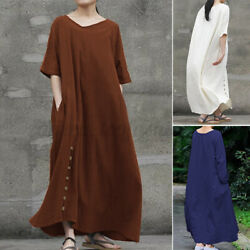 ZANZEA Womens Half Sleeve V Neck Plain Loose Casual Holiday Long Dress Maxi Plus $18.39
