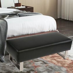 Lonabr Modern Entryway Bench Leather Upholstered Padded Seat End of Bedroom $265.99