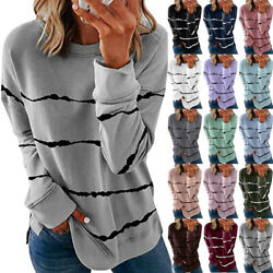 Womens Autumn Long Sleeve Striped T Shirt Causal Plus Size Pullover Tops Blouse $13.99