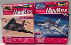 Revell Mini Kits F 117 Nighthawk Stealth Fighter amp; MIG 29 Jets Snap Together $17.98
