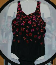 SWIMSUIT FOR ALL CHLORINE RESISTANT RED BLK ONE PIECE SWIMSUIT Sz.16 $30.00