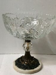 """Antique Crystal Brass Marble Compote Pedestal Bowl Cut Glass 10""""X10"""" By 8# $19.99"""