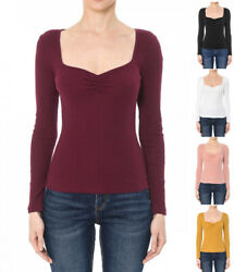 S M L Women#x27;s Basic Long Sleeve Sweetheart Neck Cotton Stretch Knit Top T Shirt $14.99