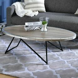 Coffee Table Wood Top Modern Rustic Living Room Furniture Weathered Gray Oak New $155.50