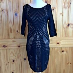 Calvin Klein Black Evening Crochet Dress Nude Lining Size Medium