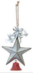 New Farmhouse Rustic Christmas GALVANIZED STAR RED BELL HANGING Ornament $26.99