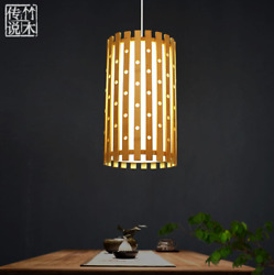 Bamboo Tube Hole Pendant Light Fixture Vintage Asian Hanging Ceiling Lamps $171.99