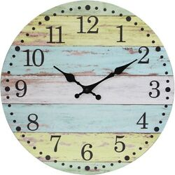 Worn 14 Inch Round Hanging Clock Rustic for The Living Room Light Blue Yellow $23.57