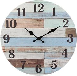 Worn 14 Inch Round Hanging Clock Rustic for The Living Room Worn Blue $29.46