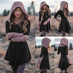 Women Ladies Long Sleeve Hooded Dress Medieval Gothic Dress Long Tops Costume