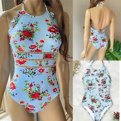 Cupshe Blue Floral Print Halter One Piece Swimsuit Swim Size XS NWOT $15.99