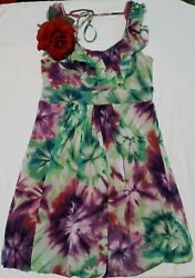 VOLUME ONE DRESS SIZE M GREEN MULTICOLOR $12.10