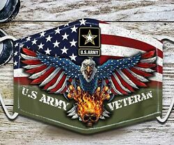 Reusable US Army Veteran Face Mask Proud Military Veterans Cloth Face Cover $12.95
