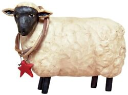 New Primitive Rustic Country SHEEP WITH STAR WREATH Figurine $9.95