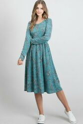 Floral Print Long Sleeve Baby Doll Midi Bohemian Dress with side Pocket $35.95