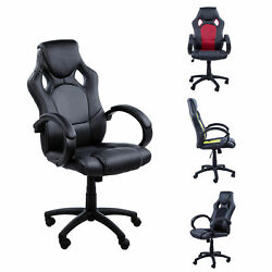 PU Leather Computer Chairs Height Adjustable Racing Gaming Swivel Office Chair $23.99