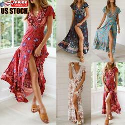 Women Boho Floral Long Dress Ladies Holiday Summer Beach Short Sleeve Maxi Dress $19.18