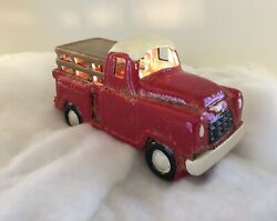 New Farmhouse VINTAGE RED TRUCK FIGURE NIGHT LIGHT Electric Plug Lamp Pottery $19.99