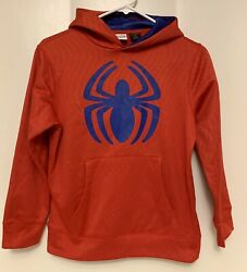 Spiderman Marvel Boys L 10 12 Hoodie Sweatshirt Red Pullover Web Front Pocket $13.99